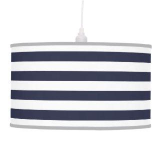 Navy Blue Preppy Nautical Stripes Pendant Lamp