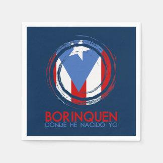 Navy Blue Puerto Rico Borinquen Disposable Napkin