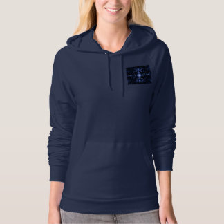 Navy Blue Pullover Hoodie with Blue Abstract Image