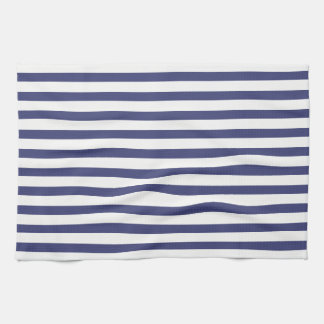 Navy Blue & Pure White Stripes Kitchen Towel