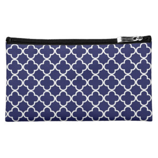 Navy Blue Quatrefoil Cosmetic Bag