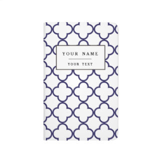 Navy Blue Quatrefoil Pattern Journal