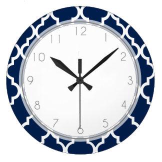 Navy Blue Quatrefoil Pattern Large Clock
