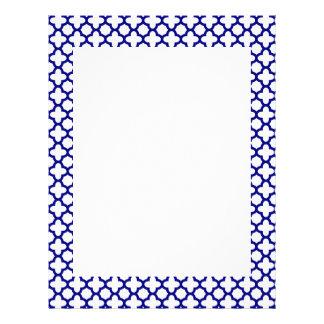 Navy Blue Quatrefoil Pattern Letterhead