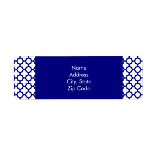 Navy Blue Quatrefoil Pattern Return Address Label