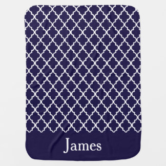 Navy Blue Quatrefoil Personalized Baby Blanket
