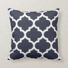 Navy Blue Quatrefoil Pillow