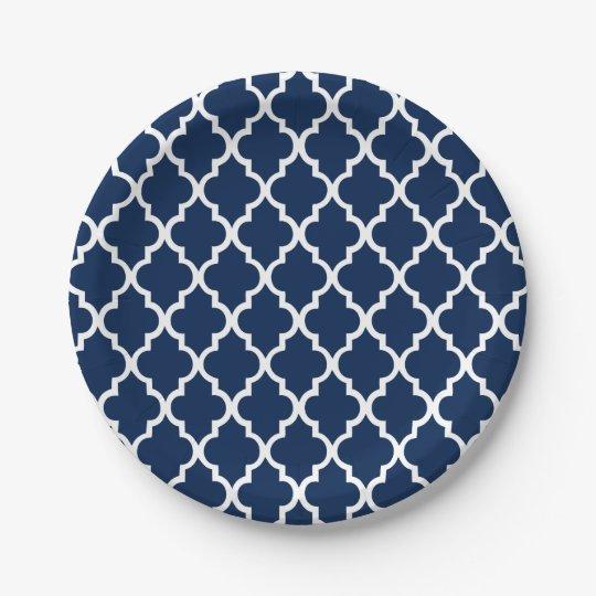 Navy Blue Quatrefoil Tiles Pattern 7 Inch Paper Plate