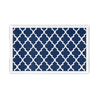 Navy Blue Quatrefoil Tiles Pattern Acrylic Tray