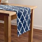 Navy Blue Quatrefoil Tiles Pattern Short Table Runner