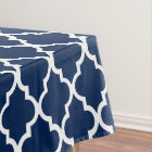 Navy Blue Quatrefoil Tiles Pattern Tablecloth