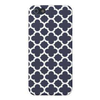 Navy Blue Quatrefoil Trellis Pattern iPhone 5 Cover