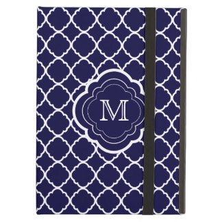Navy Blue Quatrefoil with Monogram Case For iPad Air