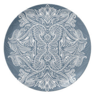 Navy Blue, Raven of mirrors, dreams, bohemian Plate
