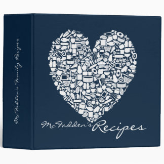 Navy Blue Recipe Personalized Name Binder