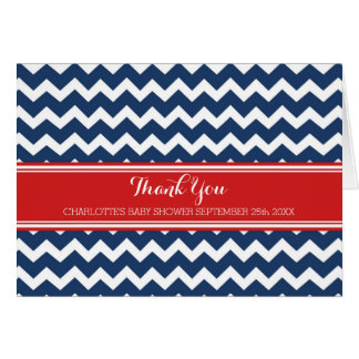 Navy Blue Red Chevrons Baby Shower Thank You Card