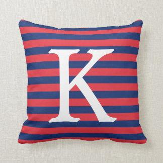 Navy Blue & Red Stripes Monogram Throw Pillow