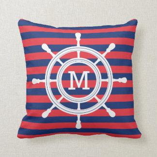 Navy Blue & Red Stripes Rudder Monogram Throw Pillow