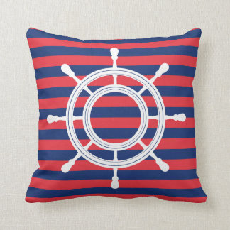 Navy Blue & Red Stripes - White Rudder Throw Pillow
