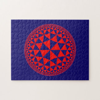 Navy Blue & Red Triangle Filled Mandala Jigsaw Puzzle