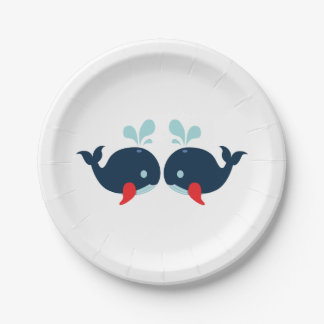Navy Blue Red Whales Nautical Wedding / Party Paper Plate