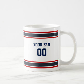 Navy Blue, Red & White Football Team Personalized Coffee Mug