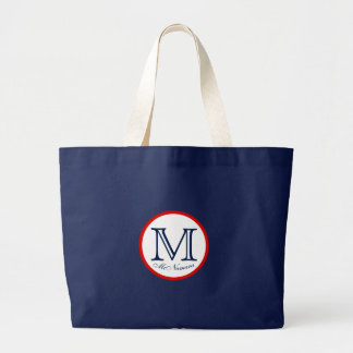 Navy Blue Red White Monogram Name Tote Elegant