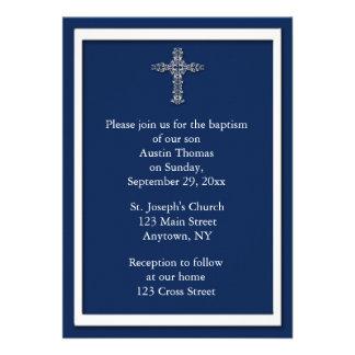 Navy Blue Religious Invitation