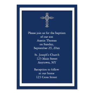 "Navy Blue Religious Invitation 5"" X 7"" Invitation Card"