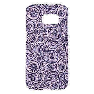 Navy Blue Retro Paisley Over Pink Background Samsung Galaxy S7 Case