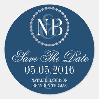 Navy blue rhinestone Save The Date wedding sticker