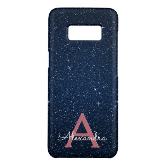 Navy Blue & Rose Gold Glitter and Sparkle Monogram Case-Mate Samsung Galaxy S8 Case