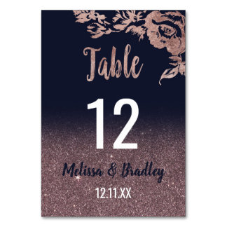 Navy Blue Rose Gold Glitter Floral Table Numbers