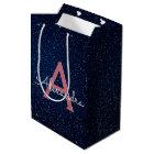 Navy Blue & Rose Gold Sparkle Glitter Monogram Medium Gift Bag