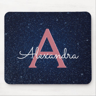 Navy Blue & Rose Gold Sparkle Glitter Monogram Mouse Pad
