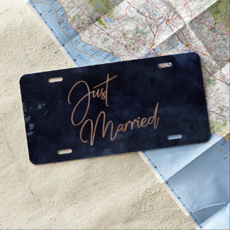Navy Blue & Rose Gold Wedding Just Married License Plate