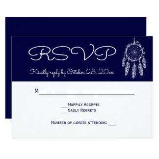 Navy Blue RSVP Native American Dream Catcher Card