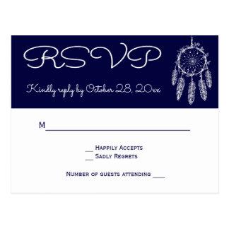 Navy Blue RSVP Native American Dream Catcher Postcard