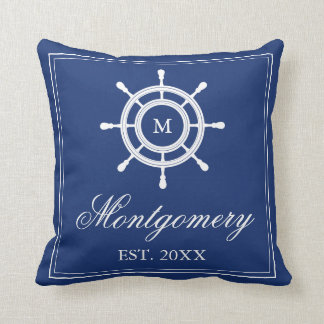 Navy Blue Rudder Monogram & Family Name Throw Pillow