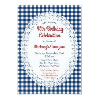 Navy Blue Rustic Gingham Birthday Party Invitation