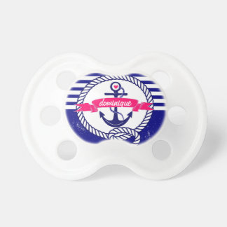 Navy Blue Rustic Nautical Stripes Baby Pacifier