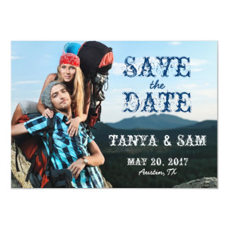 Navy Blue Rustic Photo Save the Date Card