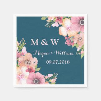 Navy Blue Rustic Pink Flowers Wedding Monogram Disposable Napkin