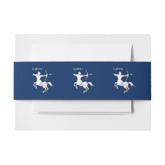 Navy Blue Sagittarius Zodiac Invitation Belly Band