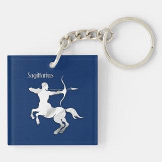 Navy Blue Sagittarius Zodiac Keychain