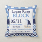 Navy Blue Sailboat Baby Announcement Pillow