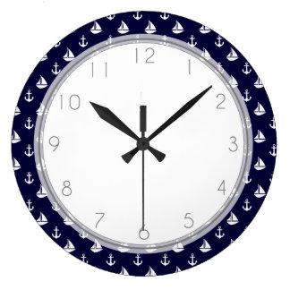 Navy Blue Sailboats and Anchors Pattern Clock