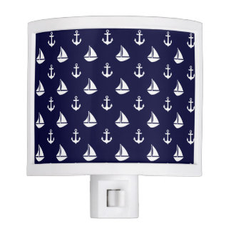 Navy Blue Sailboats and Anchors Pattern Nite Light