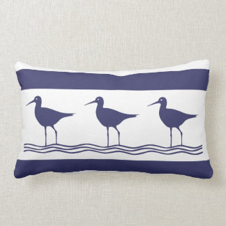 navy BLUE SAND PIPER white  PILLOW coastal