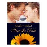 Navy Blue Save the Date Sunflower Postcard
